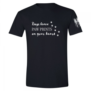 Dogs Leave Paw Prints Shirt Black