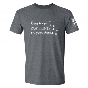 Dogs Leave Paw Prints Shirt Grey
