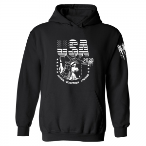 USA State of Liberty Mask Hoodie Black