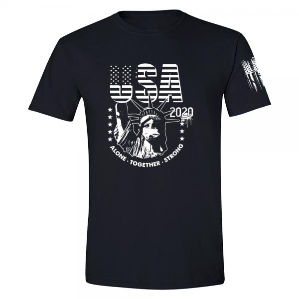 USA State of Liberty Mask Shirt Black