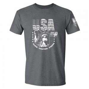 USA State of Liberty Mask Shirt Grey