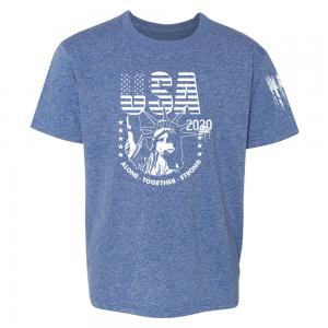 USA State of Liberty Mask Shirt Blue