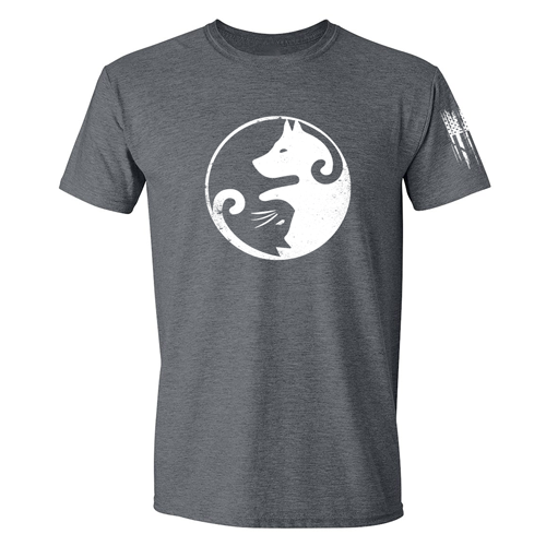 Cat Dog Yin Yang Shirt Grey